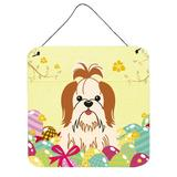 The Holiday Aisle® Easter Eggs Shih Tzu Gloss Wall Decor Metal in Red/White, Size 8.0 H x 6.0 W in | Wayfair THLA4750 39992903