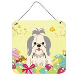 The Holiday Aisle® Easter Eggs Shih Tzu Gloss Wall Decor Metal in Gray/White, Size 8.0 H x 6.0 W in | Wayfair THLA4750 39992901