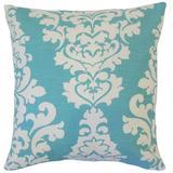 The Pillow Collection Wilona Damask Bedding Sham 100% Cotton in Blue, Size 26.0 H x 26.0 W x 8.0 D in | Wayfair EURO-PP-BERLIN-COASTALBLUESLUB-C100