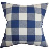 The Pillow Collection Vedette Plaid Bedding Sham 100% Cotton in Blue, Size 30.0 H x 20.0 W x 5.0 D in   Wayfair QUEEN-D-31874-NATURALBLUE-C100