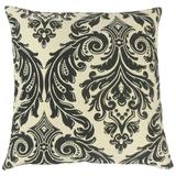 The Pillow Collection Jovita Damask Bedding Sham Polyester in Black, Size 26.0 H x 26.0 W x 8.0 D in   Wayfair EURO-MER-M9209-ONYX-R39P33PP28