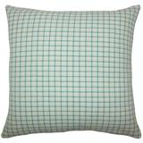 The Pillow Collection Quora Plaid Bedding Sham 100% Cotton in Blue, Size 30.0 H x 20.0 W x 5.0 D in   Wayfair QUEEN-D-32803-AEGEAN-C100