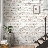 """Williston Forge Eichelberger 34.45' x 20.87"""" Brick Wallpaper Roll Paper in Gray   Wayfair TRNT4266 45485161"""