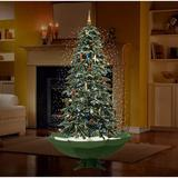 """The Holiday Aisle® 5'7"""" Snowing Musical Green Artificial Christmas Tree w/ 60 Clear/White Lights in Green/White, Size 67.0 H x 73.6 W x 73.6 D in"""