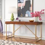Etta Avenue™ Aster Writing Desk Wood/Metal in Brown/Yellow, Size 30.0 H x 60.0 W x 24.0 D in | Wayfair AFD73772EA374B59BEEA5BC7F83E202B