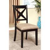 Gracie Oaks Tarsha Upholstered Cross Back Side Chair in Dark Oak/BlackWood/Upholstered in Black/Brown, Size 39.5 H x 18.5 W x 22.0 D in | Wayfair