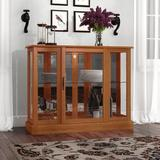 Canora Grey Franklyn Lighted Console Curio CabinetWood/Glass in Brown, Size 30.0 H x 38.0 W x 12.0 D in | Wayfair 6E25FC6032BA4CFE96A4A7C2834B1939