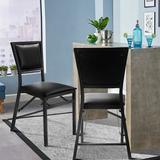 Fleur De Lis Living Shildon Folding Upholstered Dining Chair Upholstered/Metal/Fabric in Black, Size 33.5 H x 20.0 W x 18.0 D in   Wayfair