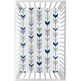 Sweet Jojo Designs Mod Arrow Fitted Crib Sheet Polyester in Blue, Size 5.0 H x 28.0 W x 52.0 D in | Wayfair MiniSheet-ModArrow-GY-MT-PRT