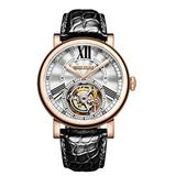 Reef Tiger Luxury Watches for Men Rose Gold Tourbillon Watch Alligator Strap Automatic Watches RGA1999 (RGA1999-PWB)