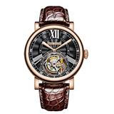 Reef Tiger Luxury Watches for Men Rose Gold Tourbillon Watch Alligator Strap Automatic Watches RGA1999 (RGA1999-PBS)