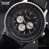 JARAGAR Brand Mens Men Mechanical Watches, Men's Automatic 6 Hands Genuine Leather Strap Watches Black Auto Date Wristwatches, Watch for Men