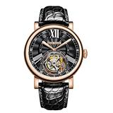 Reef Tiger Luxury Watches for Men Rose Gold Tourbillon Watch Alligator Strap Automatic Watches RGA1999 (RGA1999-PBB)