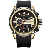 MEGIR Men's Sports Quartz Watches Silicone Strap Waterproof Chronograph Wristwatch for Man Fashion Black Gold Watch Male