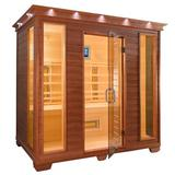 "TheraSauna 4 Person FAR Infrared Sauna w/ MPS Touch View Control, Solid Wood, Size 78""H X 87""W X 52""D 