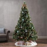 The Holiday Aisle® 7.5' Frosted Green Pine Artificial Christmas Tree w/ 1000 Multi-Colored Lights in Green/White, Size 90.0 H x 61.0 W x 61.0 D in