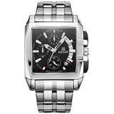 Megir Men's Stainless Steel Chronograph Quartz Watches Rectangle Dial Analogue Wristwatch for Man
