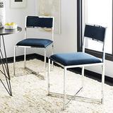 Safavieh Home Menken Navy Velvet and Chrome Side Chair, Set of 2