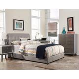 Lusso Twin Bed Set w/ Rails - Gray Faux Leather - Hillsdale 1945BTR