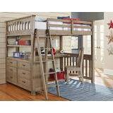 Highlands Full Loft Bed w/ Desk & Chair Driftwood - Hillsdale 10080NDC