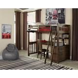 Highlands Twin Loft Bed w/ Desk & Chair Espresso - Hillsdale 11070NDC