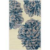 Aspire Wool Floral Ivory & Navy 5x8 - Linon Home Decor RUGAE3058