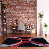Corfu Spheres Black & Red 8x10.3 - Linon Home Decor RUG-CU0581