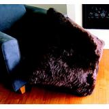 """""""Chocolate - Bowron Single Sided Longwool 32"""""""" Sq Floor Pillow - MCOLWS80UMS-CH"""""""