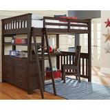 Highlands Full Loft Bed w/ Desk & Chair Espresso - Hillsdale 11080NDC