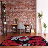 Corfu Damask Black & Red 8x10.3 - Linon Home Decor RUG-CU1081