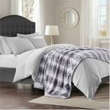 """Madison Park Zuri 96x80"""" Faux Fur Oversized Bed Throw in Grey - Olliix MP50-2920"""
