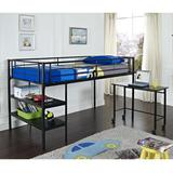 Twin Loft Bed with Desk and Shelves - Black - Walker Edison BTLD46SPBL