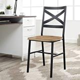 Metal X-Back Wood Dining Chair in Barnwood (Set of 2) - Walker Edison CH18AI2BW