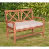 Acacia Wood X in Back Love Seat w/ Cushions in Brown - Walker Edison OWXBLSBR
