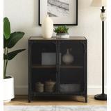 """30"""" Urban Industrial Wood & Metal Storage TV Console Accent Cabinet w/ Mesh Doors in Rustic Oak - Walker Edison AF30SOICRO"""