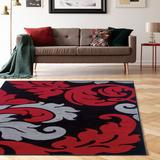 Corfu Damask Black & Red 5x7.7 - Linon Home Decor RUG-CU1058