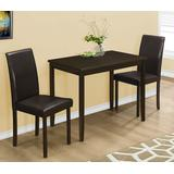 Dining Set - 3Pcs Set / Cappuccino / Brown Parson Chairs - Monarch Specialties I-1015