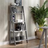 """55"""" Wood Ladder Bookshelf in Grey - Walker Edison BS55LDGY"""