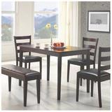 Cappuccino 5Pcs Dining Set w/ A Bench And 3 Side Chairs - Monarch Specialties I-1211