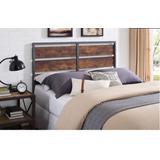 Queen Size Metal & Wood Plank Panel Headboard in Brown - Walker Edison HBQSLRW