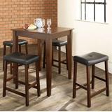 5 Piece Pub Dining Set w/ Tapered Leg & Upholstered Saddle Stools in Vintage Mahogany Finish - Crosley KD520008MA
