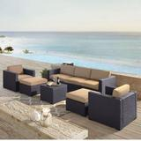Biscayne 7 Person Outdoor Wicker Seating Set in Mocha - One Loveseat, Two Arm Chairs, One Corner Chair, One Coffee Table, Two Ottomans - Crosley KO70113BR-MO