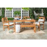 Patio 6 Piece Dining Table Set in Brown - Walker Edison OW6XSDTBR
