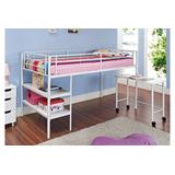 Twin Loft Bed with Desk and Shelves - White - Walker Edison BTLD46SPWH