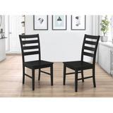 Wood Ladder Back Dining Chair in Black (Set of 2) - Walker Edison CH2LBBL