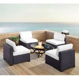 Biscayne 4 Person Outdoor Wicker Seating Set in White - Four Armless Chairs, Ashland Firepit - Crosley KO70122BR-WH