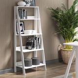 """""""55"""""""" Wood Ladder Bookshelf in White - Walker Edison BS55LDWH"""""""