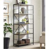 """63"""" Rustic Metal & Wood Media Bookshelf in Dark Walnut - Walker Edison BS60RMWDW"""