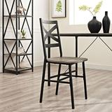 Metal X-Back Wood Dining Chair in Driftwood (Set of 2) - Walker Edison CH18AI2AG
