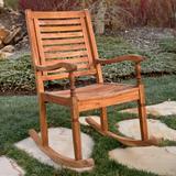 Solid Acacia Wood Rocking Patio Chair, Brown - Walker Edison OWRCBR
